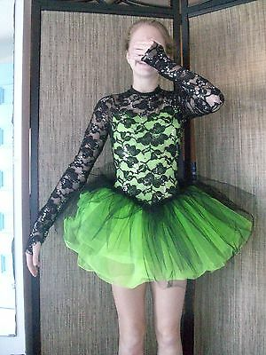 black tutu dance costume  green tulle black lace ballet jazz tap musical theate