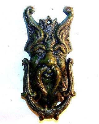 Cast Iron Door Knocker Green Man Gargoyle Demon Gothic Medieval Door art