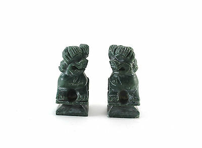 Old Vintage Chinese Soapstone Foo Dog Carvings Figures Figurines Pair