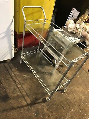 Hollywood Mid Century Regency Bar Serving  Cart Brass & Glass Vintage
