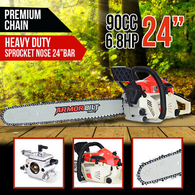 """Armorbilt 90cc Chainsaw 24"""" Bar Petrol Commercial Pruning Chain Saw Top Handle"""