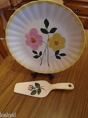 BLUE RIDGE SOUTHERN POTTERIES RIBBED CAKE PLATE & SERVER SET HAND PAINTED Custom
