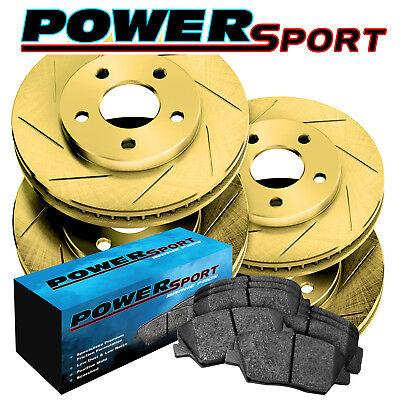 Fit 2006-2011 Buick Lucerne Front Rear Gold Slotted Brake Rotors+Ceramic Pads