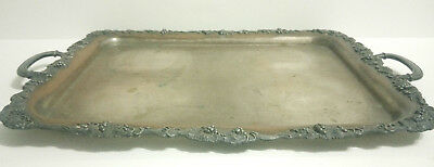 Antique Rogers Silver Quadruple Plate Butler Tray-Grape & Vine motif-Heavy