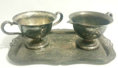 VIKING PLATE EP COPPER Cream and Sugar set with serving tray-Vintage-3 pieces