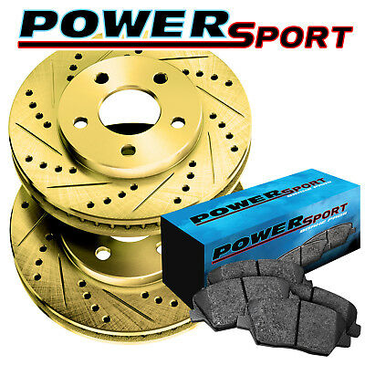 Rear Gold Drilled Slotted Brake Rotors and Ceramic Pads 2009-2015 Toyota Venza
