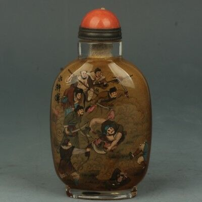Chinese Handmade Ancient people pattern Glass Inside painting snuff bottle