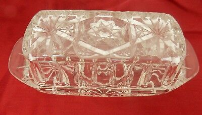 Crystal Cut Glass Covered Butter Dish Stars Design EUC