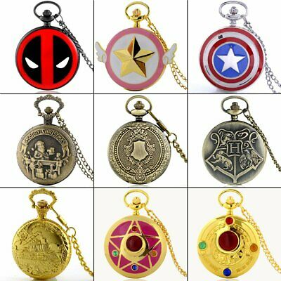 Antique Stainless Steel Pocket Watch Vintage Quartz Pendant Necklace Chain Gift