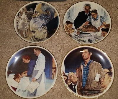 Norman Rockwell Freedom of Worship / Want / Fear / Speech Plate Set