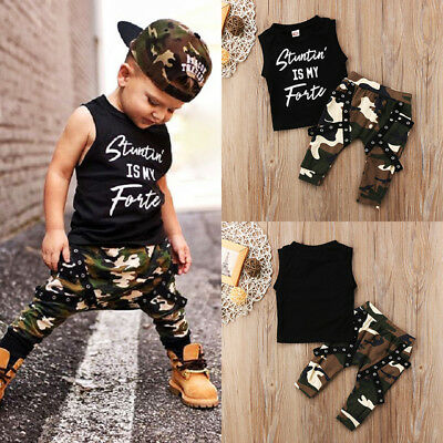 Nwt Toddler Baby Kids Boys Summer Tops T-shirt Camo Pants Outfits Set Clothes AU