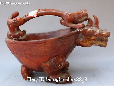 Excellent Ox Horn OxHorn Carving Rhinoceros Animal Liqueur Wine Tea Cup Statue