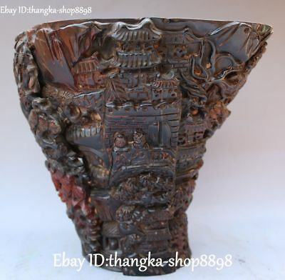 Distinctive Ox Horn OxHorn Carving Pine Tree Great Wall Wine Tea Cup Statue