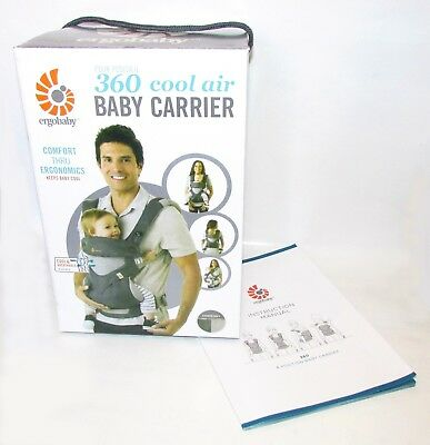 NEW in BOX!! ERGOBABY 360 4 Position Ergo baby carrier COOL AIR MESH CARBON GREY