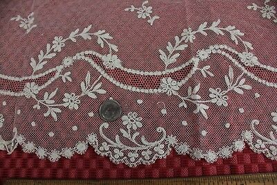 Exquisite Antique French Hand Embroidered Net Lace Flounce c1870~Dolls, Design