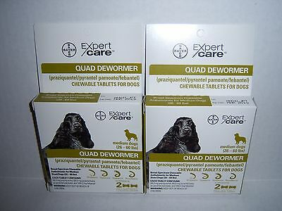 Bayer Expert Care Quad Dewormer Chewables Medium Dog 26-60 lbs BRAND NEW 2 BOXES