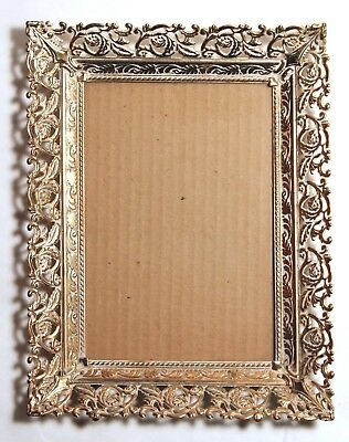 Vintage Metal Gold Colored Brass-Like Filigree Edge Photo Picture Frame 5x7