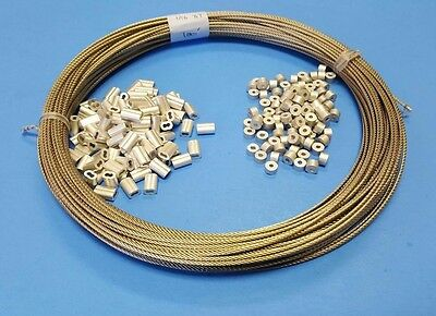"""304 Stainless Steel Wire Rope Cable, 3/32"""", 7x7 with Sleeves & Stops~100 ft coil"""