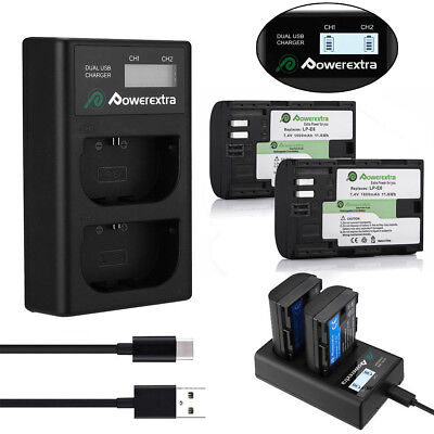 LP-E6 Battery + LCD Dual Charger for Canon EOS 5D 6D 7D Mark II III 60D 70D 80D