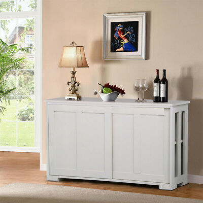Stackable Sideboard Buffet Cabinet Storage Sliding Door Kitchen Dining White