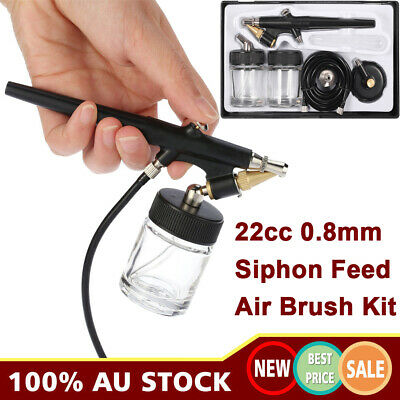 Siphon Feed Airbrush Single Action Air Brush Kit 0.8mm Spray Gun Paint Tool V8B1