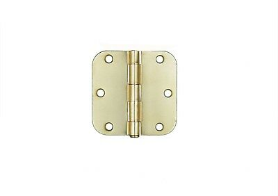 "20 Satin Brass 3.5"" Interior Round Corner Door Hinges 5/8 Radius 3 1/2 in"