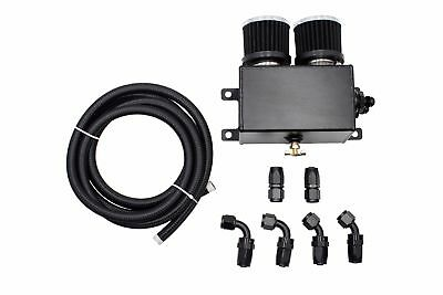 Universal Engine Motor Oil Catch Can Breather Tank Twin Filter Hose Kit AN8 BK