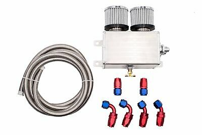 Baffled Twin Filter 1.2L Engine Oil Catch Can AN8 & 3M Hose Fittings Kit Silver