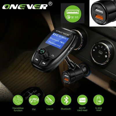 ONEVER Rotatable Bluetooth Car FM Transmitter MP3 Player 2 USB QC3.0 Charger AU