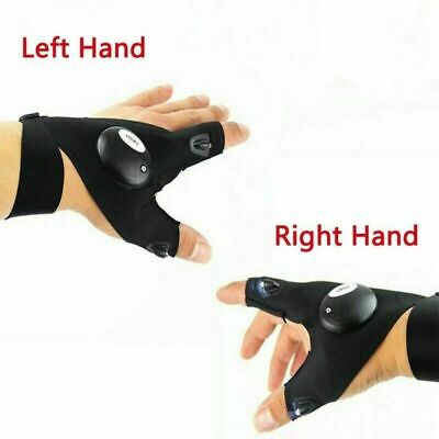 Pair LED Light Finger Lighting Flashing Outdoors Repair Work Hiking Gloves Hot