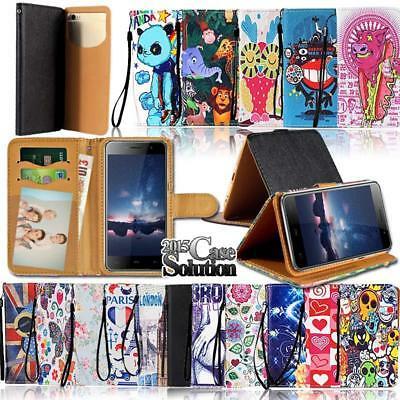 Leather Wallet Stand Magnetic Flip Case Cover For Various HomTom Smartphones