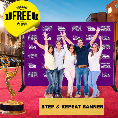 Custom Step and Repeat Vinyl Banner 10' x 8' ft 6 GUEST Photo-booth Telescopic