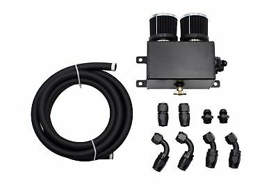 Alloy 1.2L Engine Oil Catch Can Bottle Breather Tank Twin Baffled & Hose Kit BLK
