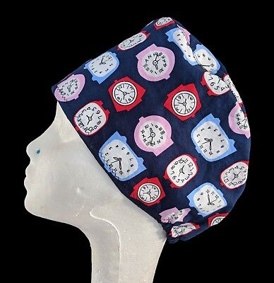 'Tick Tock' Operating Theatre Scrub Caps/Hats - nurse, ODP, surgeon, vet