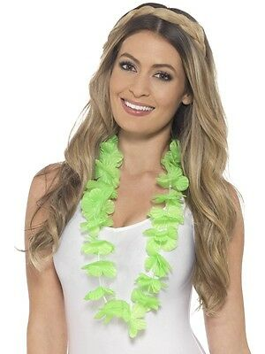 Hawaiian Fancy Dress Lei Garland Green Floral Hawaiin Necklace New by Smiffys