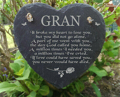 Slate Stone Heart  Laser Engraved Memorial Plaque Extra Large Size For Gran