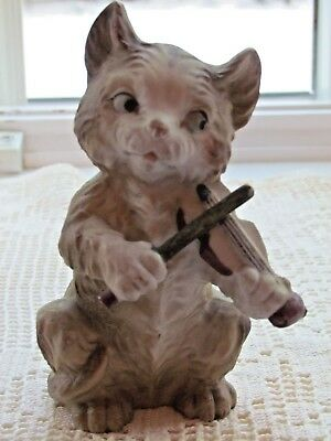 "CAT KITTEN 5"" tall CAT AND THE FIDDLE with side eyes Porcelain figurine"