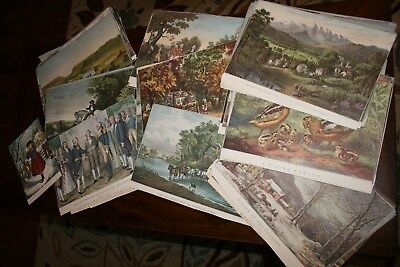 Large Lot(60+) Vintage Currier and Ives Adsvertising Calendar Prints 1950's-60's