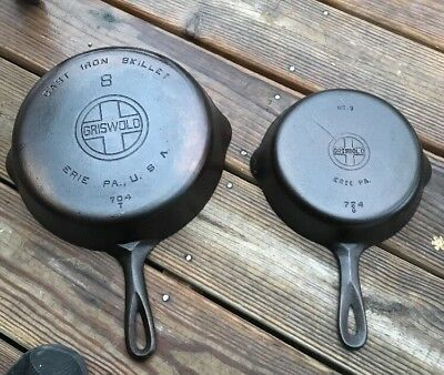 GRISWOLD Lot Of 2 Cast Iron SKILLET #'s 8 & 5  Large BLOCK LOGO SBL Skillets LBL