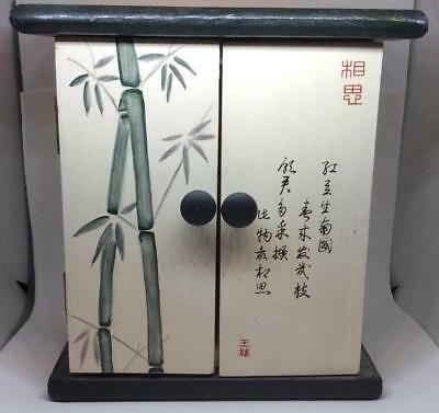 Vtg hand painted bamboo chinese japanese tea cabinet chest box jewelry wooden