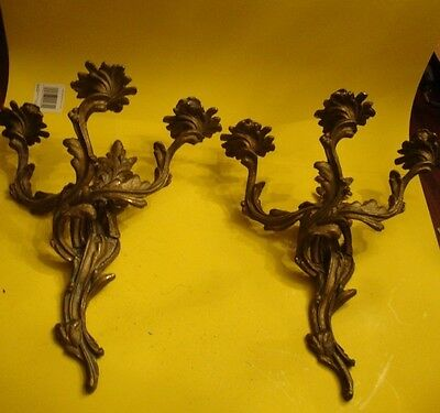 Pair Old Art Nouveau French Solid Brass Heavy Duty Wall Sconce Candleabras