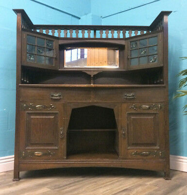SUPERIOR QUALITY ANTIQUE SOLID OAK ARTS AND CRAFTS SIDEBOARD MIRROR BACK c1900