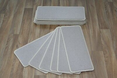 14 Plain Cream Hard-Wearing Carpet Stair Treads Ford Cream Pad 14 Large Pads