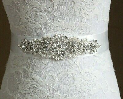 Bridal Sash With Crystals, Rhinestones And Pearls For Wedding, Bride, Bridesmaid