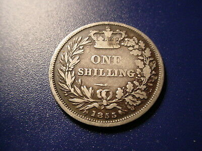 British - Silver - 1855 1-Shilling In Very Nice Condition