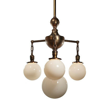 Colonial Revival Chandelier in Brass, Antique Lighting, NC2962
