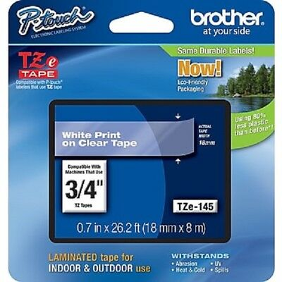 "Genuine Brother Tze-145 3/4"" P-Touch Label Tape, White on Clear"