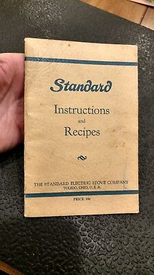 Vintage Standard Electric Stove Company Instructions And Recipes Manual Booklet