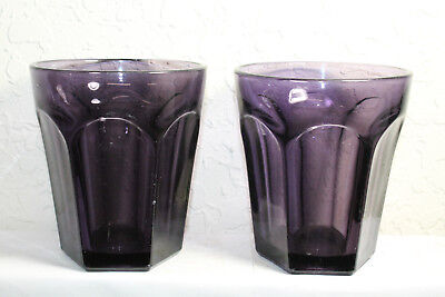 Lot of 2 Antique Purple Glass Cups Mug Base Six Sided Hexagon Shaped Large