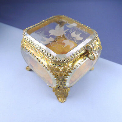 Victorian Engraved Bird Jewelry Trinket Casket / Antique Glass Ormolu French Box